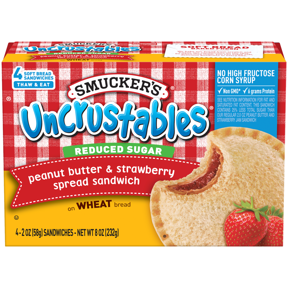 Peanut Butter & Strawberry Sandwich on Wheat with Reduced Sugar